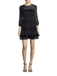 Rebecca Taylor Silk Georgette And Lace A Line Dress Dark Navy
