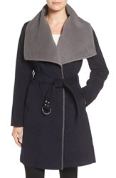 Sam Edelman Women's Melton Belted Double Face Wrap Coat Navy Grey