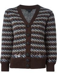Marc Jacobs Intarsia Embellished Cardigan Brown