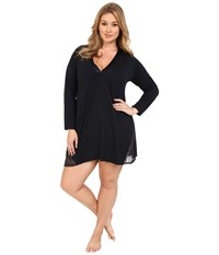 Midnight By Carole Hochman Plus Size A Touch Of Silver Lace Inset Sleepshirt Midnight Women's Pajama Navy