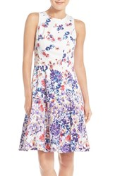 Maggy London Women's Floral Print Sateen Fit And Flare Dress