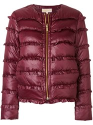 Michael Michael Kors Frill Trim Padded Coat Feather Down Polyester Pink Purple