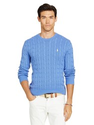 Polo Ralph Lauren Cable Knit Crew Neck Jumper Aerial Blue