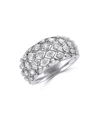 Effy Pave Classica Diamond And 14K White Gold Dome Ring 1 Tcw
