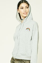 Forever 21 Rainbow Patch Hoodie Heather Grey