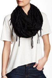 Free Press Floral Lace Infinity Scarf Black