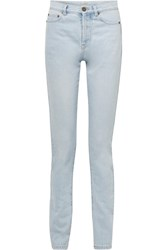 Saint Laurent Mid Rise Slim Leg Jeans Light Denim
