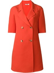 Jil Sander Short Sleeve Double Breasted Coat Red