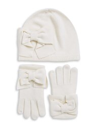 Kate Spade Bow Knit Beanie And Gloves Set Cream