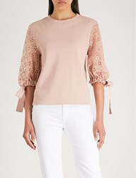 See By Chloe Lace Sleeve Stretch Cotton Sweatshirt Smoky Pink