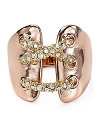 Alexis Bittar Miss Havisham Encrusted Criss Cross Ring Rose Gold Gold
