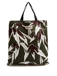 Marni Self Stowing Linen And Cotton Blend Tote Green Multi