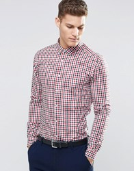 Asos Skinny Shirt In 2 Colour Check With Long Sleeves Red