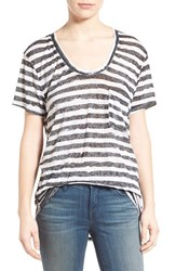 Treasure And Bond Women's One Pocket Burnout Tee Black White Washed Stripe