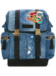 Dsquared2 Patch Distressed Denim Backpack Blue