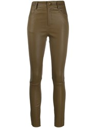 Drome High Waisted Skinny Trousers Green