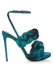 Marco De Vincenzo Velvet High Heel Sandals Green