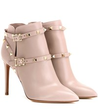 Valentino Rockstud Leather Ankle Boots Beige