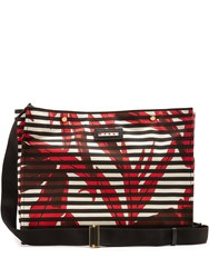 Marni Striped Canvas Tote Red Multi