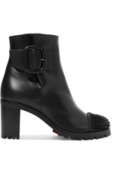 Christian Louboutin Olivia Snow 70 Spiked Leather Ankle Boots Black