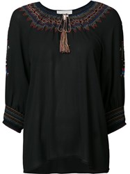 The Great Embroidered Collar Blouse Black