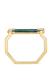 W.Britt 'Octagon Bar' Inset Malachite 18K Gold Bangle Green Metallic