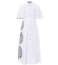 Huishan Zhang Reversible Striped Embroidered Dress White