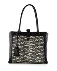 Badgley Mischka Adelle Colorblock Snake Embossed Tote Bag Black Multi