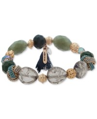 Lonna And Lilly Gold Tone Multi Bead Tassel Stretch Bracelet Green