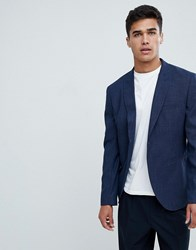 Selected Homme Slim Navy Blazer With Peaked Roll Lapel Dark Blue