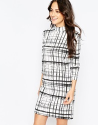 B.Young Sigat 3 4 Sleeve High Neck Shift Dress Offwhite