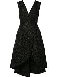 Christian Siriano Asymmetric Wrap Dress Women Silk Cotton Acrylic Wool 6 Black
