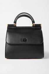 Dolce And Gabbana Sicily 58 Small Leather Tote Black