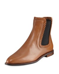 Tod's Whipstitched Flat Leather Chelsea Boot Brown