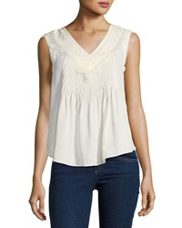 Nanette Nanette Lepore Pintucked Sleeveless Blouse With Lace Trim Beige