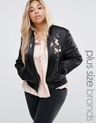 Brave Soul Plus Bomber Jacket With Embroidery Black