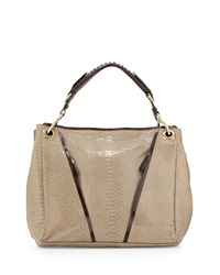 Oryany Bette Anaconda Embossed Shoulder Bag Almond