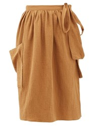 Loup Charmant Tofo Patch Pocket Cotton Gauze Wrap Skirt Tan