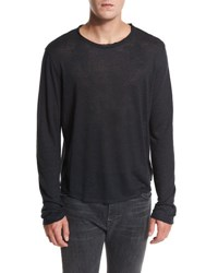 Vince Raw Edge Long Sleeve Crewneck T Shirt Black