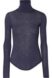 Frances De Lourdes Lucie Slub Cashmere And Silk Blend Turtleneck Top Gray