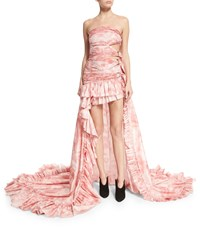 Roberto Cavalli Strapless Tie Dye Cutout High Low Gown Pink Size 42