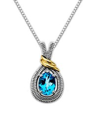 Lord And Taylor Sterling Silver Necklace With 14Kt. Yellow Gold Blue Topaz Diamond Pendant