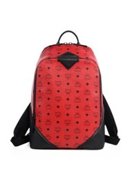 Mcm Leather Trimmed Canvas Backpack Ruby Red