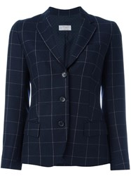 Alberto Biani Flap Pockets Plaid Blazer Blue