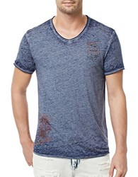 Buffalo David Bitton Graphic V Neck Tee Indigo