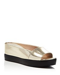 French Connection Pepper Metallic Platform Wedge Slides Light Gold