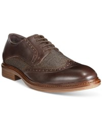 Alfani Zack Mixed Material Wingtip Derby Oxfords Only At Macy's Men's Shoes Brown