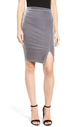 Soprano Women's Velvet Pencil Skirt Silver