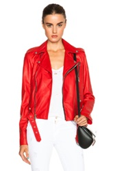 Unravel Lace Up Biker Jacket In Red