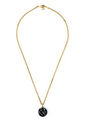 Chanel Vintage Round Pendant Necklace Metallic